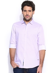 Being Human Clothing Lavender Slim Fit Casual Shirt