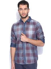 Being Human Clothing Blue & Maroon Checked Slim Casual Shirt