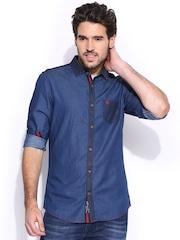 Being Human Clothing Blue Slim Denim Shirt
