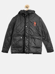 U.S. Polo Assn. Kids Boys Black Quilted Jacket