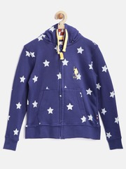 U.S. Polo Assn. Kids Boys Blue Printed Hooded Sweatshirt