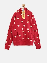 U.S. Polo Assn. Kids Boys Red Hooded Star Print Sweatshirt