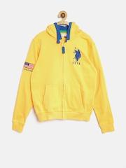U.S. Polo Assn. Kids Boys Yellow Hooded Sweatshirt