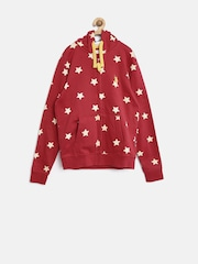 U.S. Polo Assn. Kids Boys Red Printed Hooded Sweatshirt