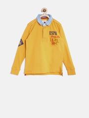 U.S. Polo Assn. Kids Boys Mustard Solid Back-Printed Polo T-shirt