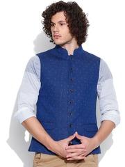 Blackberrys Blue Printed Linen Nehru Jacket