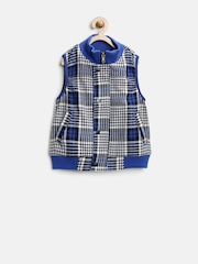 United Colors of Benetton Boys Blue Checked Woollen Jacket