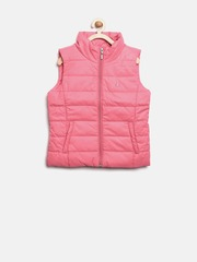 United Colors of Benetton Girls Pink Sleeveless Jacket