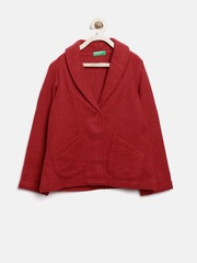 United Colors of Benetton Girls Red Woollen Jacket
