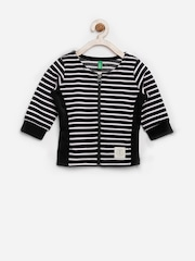 United Colors of Benetton Girls Black & White Striped Jacket