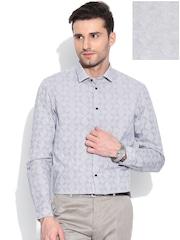 Arrow New York Grey Printed Slim Formal Shirt