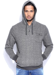 Flying Machine Charcoal Grey Hooded Sweatshirt