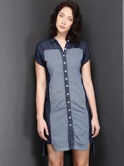 Suo Indigo Linen Denim Structured Shirt Dress