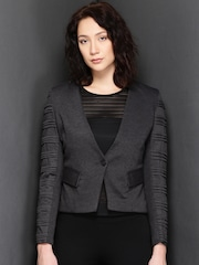 Suo Grey Tucks Textured Single-Breasted Blazer
