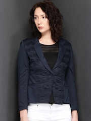 Suo Navy Tucks Textured Blazer