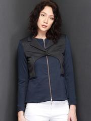 Suo Grey & Navy Manipulated Jacket