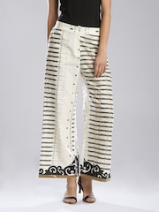 W Off-White Printed Palazzo Trousers