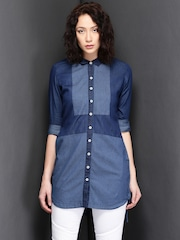 Suo Blue Patchwork Denim Tunic