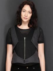 Suo Grey & Black Manipulated Waistcoat