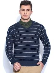 Arrow Sport Blue & White Striped Woollen Sweater