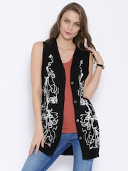 Vero Moda Black Sleeveless Embroidered Cardigan
