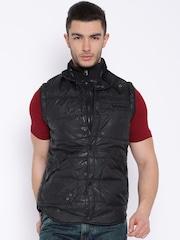 Pepe Jeans Black Camouflage Print Sleeveless Jacket