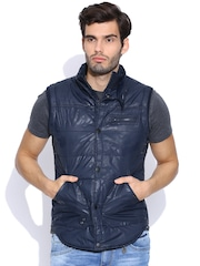 Pepe Jeans Navy Sleeveless Printed Jacket