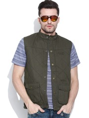Pepe Jeans Olive Green Sleeveless Jacket