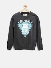 Flying Machine Boys Charcoal Grey Sweater