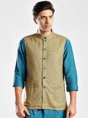 Fabindia Brown Silk Nehru Jacket