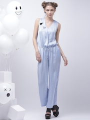 Encrypt Blue Waisted Jumpsuit with Flared Leg & Open Back