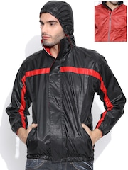 Sports52 wear Black & Red Comfort Fit Reversible Hooded Printed Wind Cheater Jacket