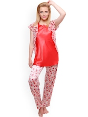 Private Lives Red & Off-White Printed Night Suit NS2212