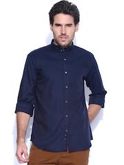 V Dot Navy Slim Fit Casual Shirt