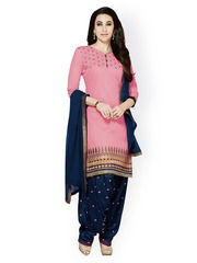Kvsfab Pink & Navy Embroidered Cotton & Chiffon Unstitched Dress Material