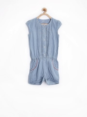 Allen Solly Junior Girls Blue Printed Playsuit