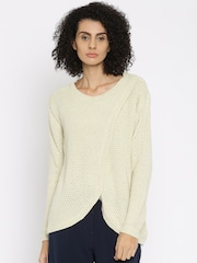 ONLY Women Beige Solid Round Neck Sweater