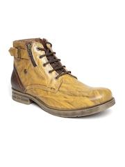 Buckaroo Men Mustard Yellow Printed Leather Boots