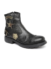 Buckaroo Men Black Leather Boots
