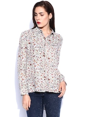 Noble Faith Off-White Floral Printed Shirt