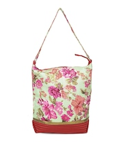 Anouk Mint Green & Red Floral Print Tote Bag
