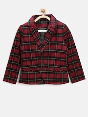 United Colors of Benetton Girls Red & Black Checked Blazer