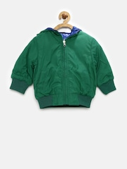 United Colors of Benetton Boys Green & Blue Reversible Hooded Jacket