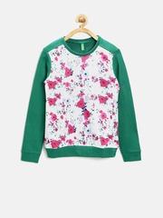 United Colors of Benetton Girls White & Green Printed Sweatshirt