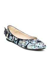 Marie Claire Women Blue Floral Print Flat Shoes