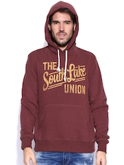 Fox Maroon Hooded Printed Sweatshirt