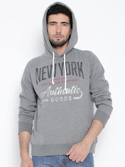 Fox Grey Melange Printed Hooded Sweatshirt
