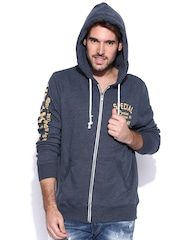 Fox Navy Printed Hooded Sweatshirt