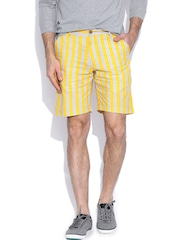 Hubberholme Yellow & Grey Striped Structured Fit Shorts