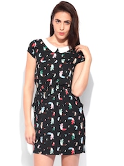 Flying Machine Black Bird Print Shift Dress